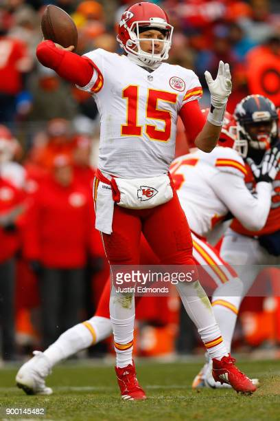 Quarterback Patrick Mahomes of the Kansas City Chiefs throws a pass during the first quarter against the Denver Broncos at Sports Authority Field at...