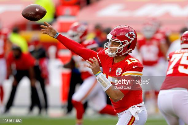 Quarterback Patrick Mahomes of the Kansas City Chiefs throws against the Carolina Panthers at Arrowhead Stadium on November 08 2020 in Kansas City...