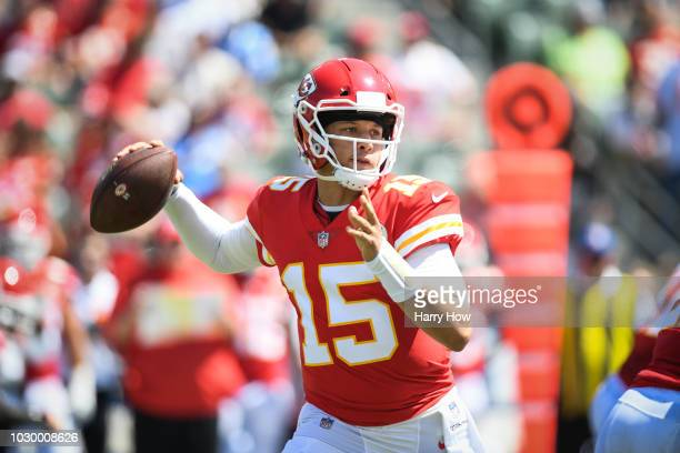 Quarterback Patrick Mahomes of the Kansas City Chiefs throws in the first quarter against the Los Angeles Chargers at StubHub Center on September 9...