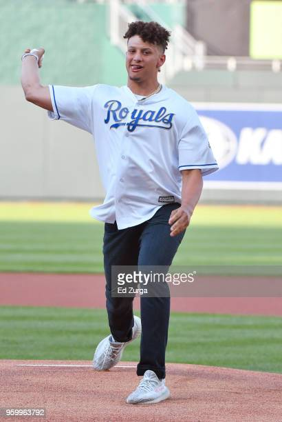 Quarterback Patrick Mahomes of the Kansas City Chiefs throws out the first pitch prior to a game between the New York Yankees and Kansas City Royals...