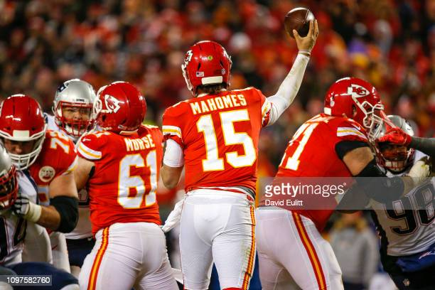 Quarterback Patrick Mahomes of the Kansas City Chiefs throws the football in the AFC Championship Game against the New England Patriots at Arrowhead...