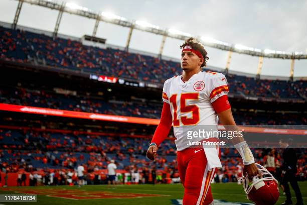 Quarterback Patrick Mahomes of the Kansas City Chiefs walks off the field before a game against the Denver Broncos at Empower Field at Mile High on...