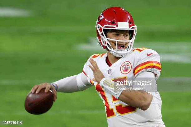 Quarterback Patrick Mahomes of the Kansas City Chiefs warms up before the NFL game against the Las Vegas Raiders at Allegiant Stadium on November 22,...