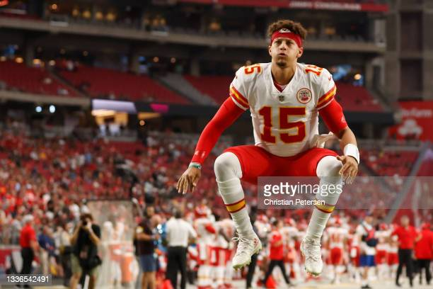 Quarterback Patrick Mahomes of the Kansas City Chiefs warms up before the NFL preseason game against the Arizona Cardinals at State Farm Stadium on...