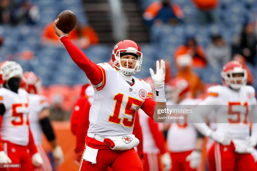 Quarterback Patrick Mahomes #15 of the Kansas City Chiefs warms up before a game against the Denver Broncos at Sports Authority Field at Mile High on December 31, 2017 in Denver, Colorado.