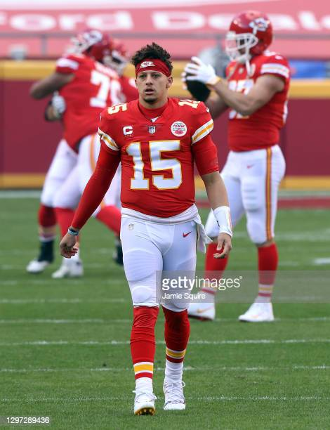Quarterback Patrick Mahomes of the Kansas City Chiefs warms up prior to the AFC Divisional Playoff game against the Cleveland Browns at Arrowhead...