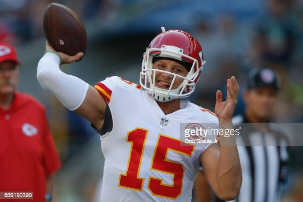 Quarterback Patrick Mahomes of the Kansas City Chiefs warms up prior to the game against the Seattle Seahawks at CenturyLink Field on August 25, 2017...