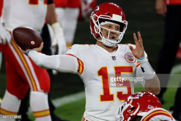 Quarterback Patrick Mahomes of the Kansas City Chiefs warms up against the Baltimore Ravens at M&T Bank Stadium on September 28, 2020 in Baltimore,...