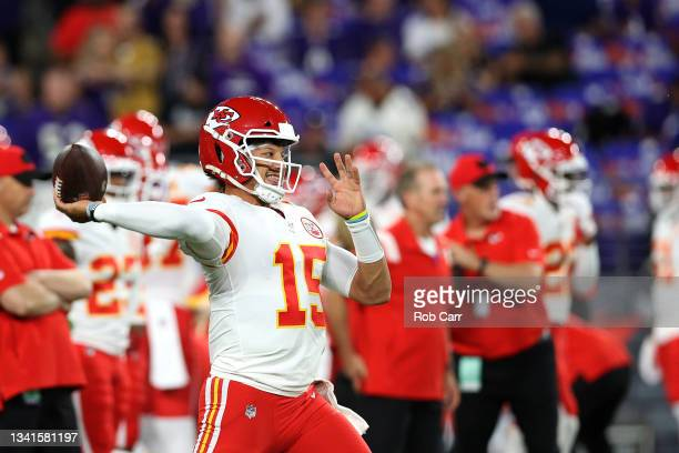 Quarterback Patrick Mahomes of the Kansas City Chiefs warms up against the Baltimore Ravens at M&T Bank Stadium on September 19, 2021 in Baltimore,...