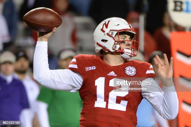 Quarterback Patrick O'Brien of the Nebraska Cornhuskers drops back to pass against the Ohio State Buckeyes at Memorial Stadium on October 14 2017 in...