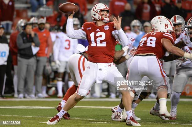 Quarterback Patrick O'Brien of the Nebraska Cornhuskers passes against the Ohio State Buckeyes at Memorial Stadium on October 14 2017 in Lincoln...