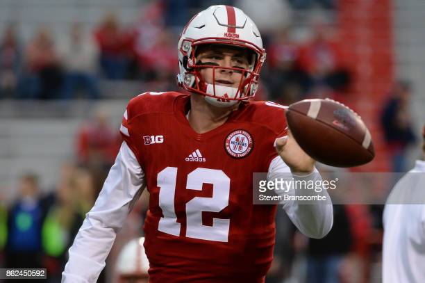 Quarterback Patrick O'Brien of the Nebraska Cornhuskers warms up before the game against the Ohio State Buckeyes at Memorial Stadium on October 14...
