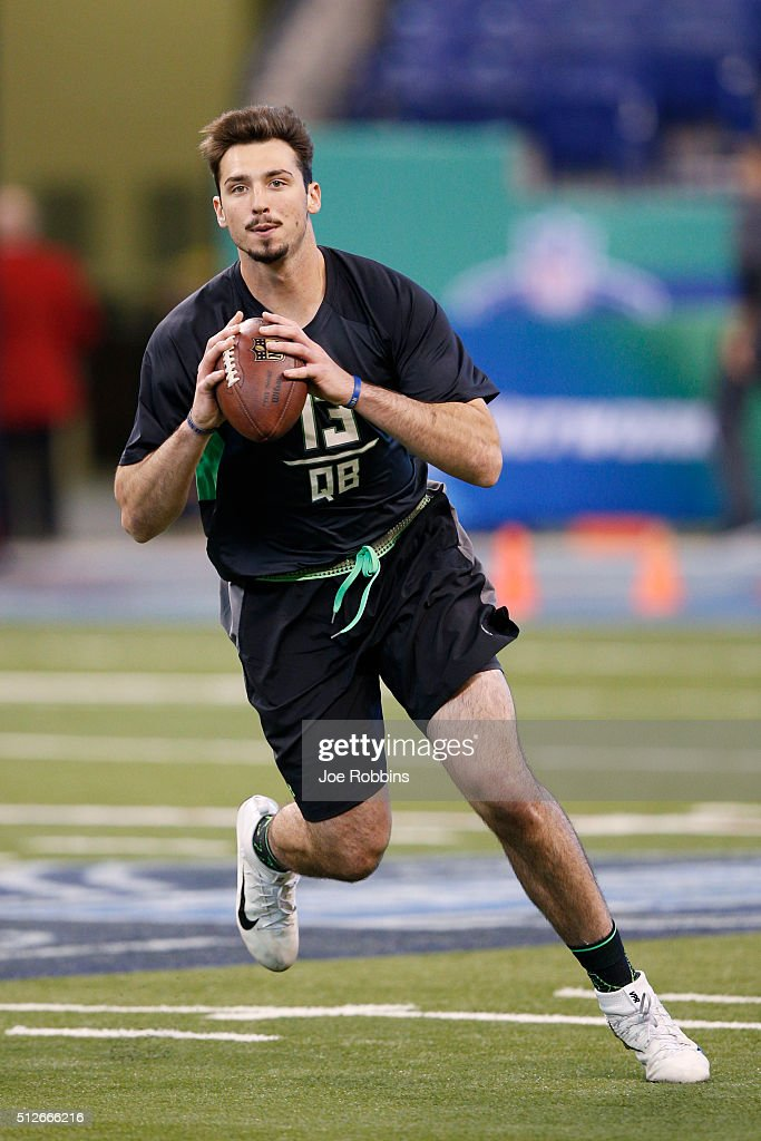 Quarterback Paxton Lynch of Memphis throws during the 2016 NFL Scouting Combine at Lucas Oil Stadium on February 27, 2016 in Indianapolis, Indiana.