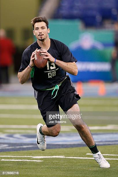 Quarterback Paxton Lynch of Memphis throws during the 2016 NFL Scouting Combine at Lucas Oil Stadium on February 27 2016 in Indianapolis Indiana