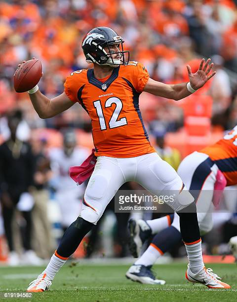 Quarterback Paxton Lynch of the Denver Broncos in action against the Atlanta Falcons at Sports Authority Field at Mile High on October 9 2016 in...