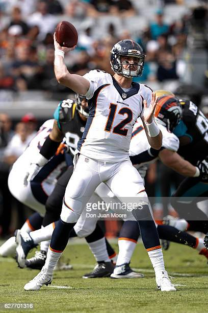 Quarterback Paxton Lynch of the Denver Broncos on a pass play during the game against the Jacksonville Jaguars at EverBank Field on December 4 2016...