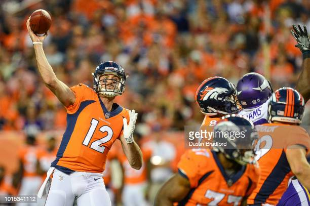 Quarterback Paxton Lynch of the Denver Broncos passes against the Minnesota Vikings during an NFL preseason game at Broncos Stadium at Mile High on...