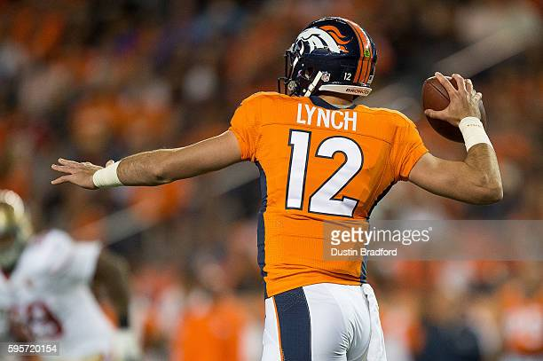 Quarterback Paxton Lynch of the Denver Broncos passes during a preseason NFL game against the San Francisco 49ers at Sports Authority Field at Mile...