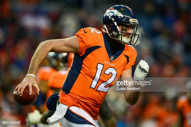 Quarterback Paxton Lynch of the Denver Broncos scrambles against the Kansas City Chiefs at Sports Authority Field at Mile High on December 31 2017 in...