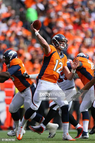 Quarterback Paxton Lynch of the Denver Broncos throws a completion for 14 yards for a first down in the first quarter of the game against the Atlanta...