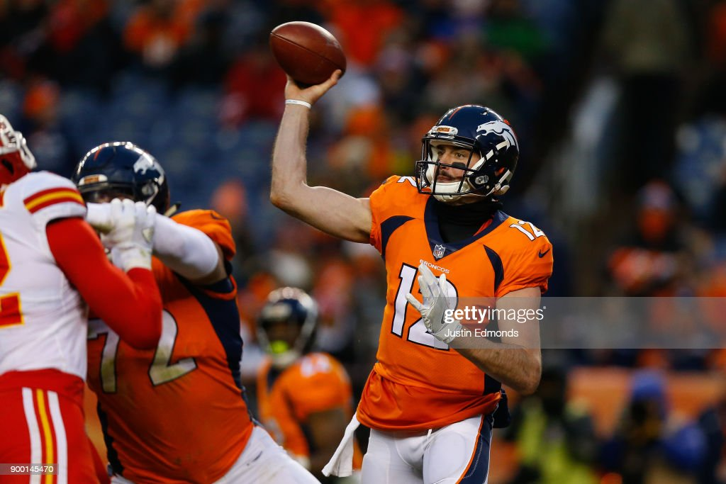 Quarterback Paxton Lynch #12 of the Denver Broncos throws a pass during the third quarter against the Kansas City Chiefs at Sports Authority Field at Mile High on December 31, 2017 in Denver, Colorado. The Chiefs defeated the Broncos 27-24.