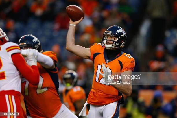 Quarterback Paxton Lynch of the Denver Broncos throws a pass during the third quarter against the Kansas City Chiefs at Sports Authority Field at...