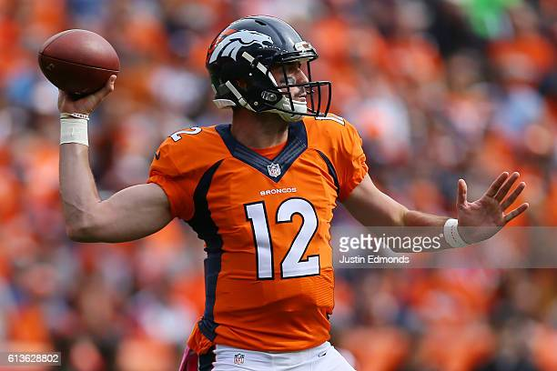 Quarterback Paxton Lynch of the Denver Broncos throws in the first quarter of the game against the Atlanta Falcons at Sports Authority Field at Mile...