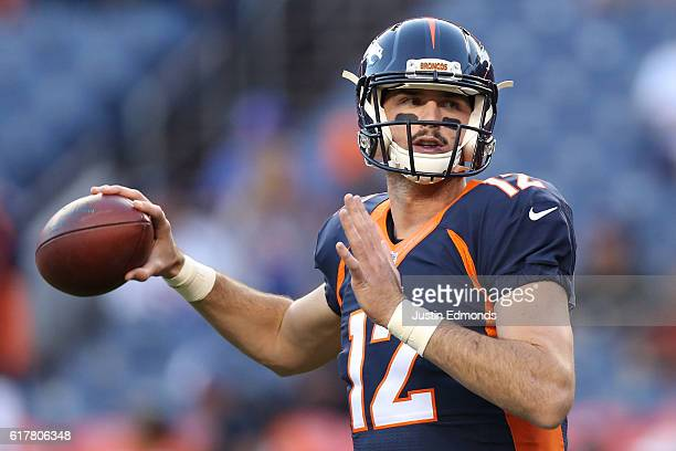 Quarterback Paxton Lynch of the Denver Broncos warms up before the game against the Houston Texans at Sports Authority Field at Mile High on October...