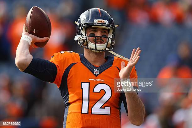 Quarterback Paxton Lynch of the Denver Broncos warms up before the game against the Oakland Raiders at Sports Authority Field at Mile High on January...