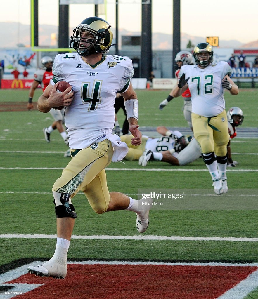 Quarterback Pete Thomas #4 of the Colorado State Rams rushes for a touchdown against the UNLV Rebels during their game at Sam Boyd Stadium October 29, 2011 in Las Vegas, Nevada. UNLV won 38-35.