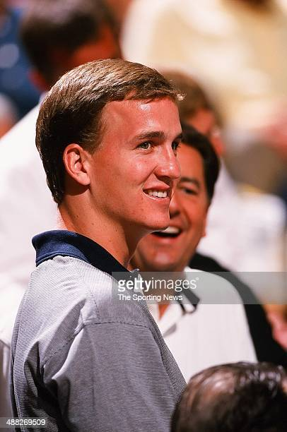 NFL quarterback Peyton Manning attends Game Two of the Eastern Conference Finals between the Indiana Pacers and the New York Knicks on June 1 1999 at...