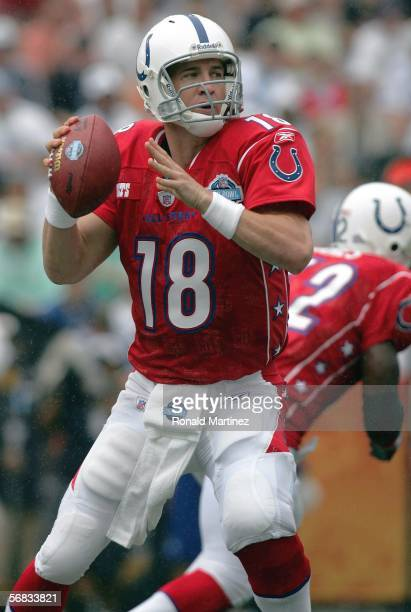 Quarterback Peyton Manning of the AFC team looks to pass against the NFC team during the NFL Pro Bowl on February 12 2006 at Aloha Stadium in...