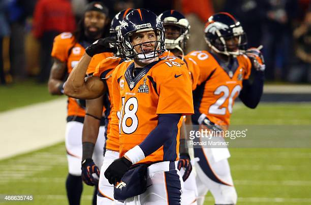 Quarterback Peyton Manning of the Denver Broncos reacts against the Seattle Seahawks in the second quarter during Super Bowl XLVIII at MetLife...