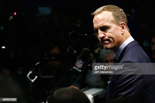 Quarterback Peyton Manning of the Denver Broncos speaks to press after Super Bowl XLVIII at MetLife Stadium on February 2 2014 in East Rutherford New...