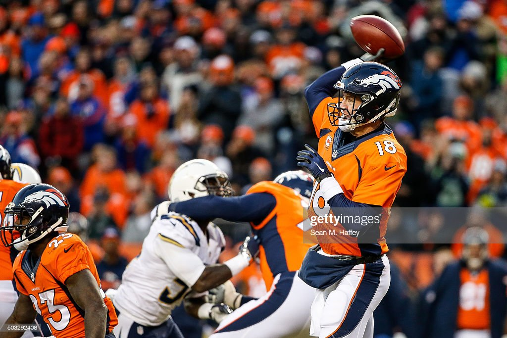 Quarterback Peyton Manning #18 of the Denver Broncos, who entered the game after Brock Osweiler #17 (not pictured) sustained an injury, passes against the San Diego Chargers during the third quarter of a game at Sports Authority Field at Mile High on January 3, 2016 in Denver, Colorado.