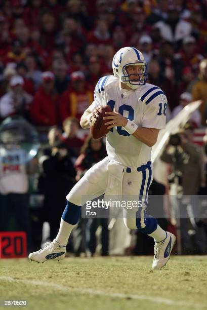 Quarterback Peyton Manning of the Indianapolis Colts drops back to pass during the game against the Kansas City Chiefs in the AFC Divisional Playoffs...