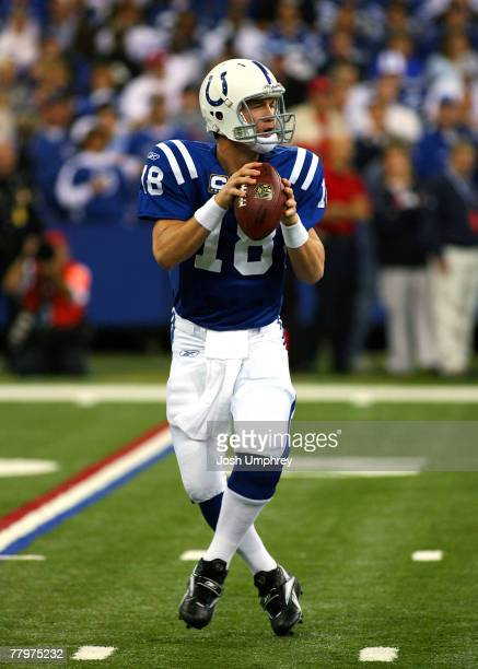 Quarterback Peyton Manning of the Indianapolis Colts drops back to pass in a game against the Kansas City Chiefs at the RCA Dome on November 18 2007...