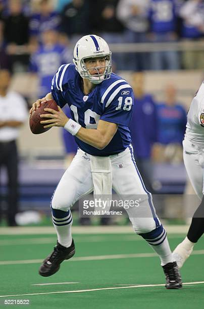 Quarterback Peyton Manning of the Indianapolis Colts look to pass against the Baltimore Ravens on December 19 2004 at the RCA Dome in Indianapolis...
