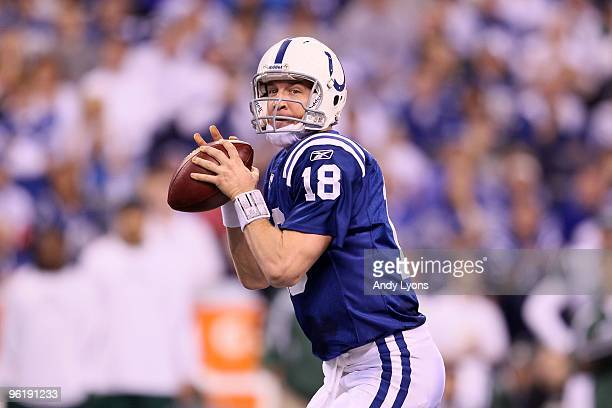 Quarterback Peyton Manning of the Indianapolis Colts looks to pass the ball against the New York Jets during the AFC Championship Game at Lucas Oil...
