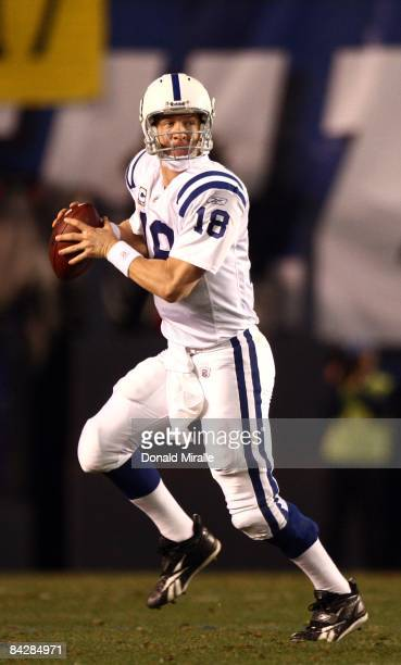 Quarterback Peyton Manning of the Indianapolis Colts runs during his team's 2317 sudden death overtime loss to the San Diego Chargers in the NFL AFC...