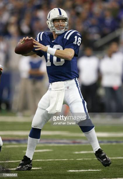 Quarterback Peyton Manning of the Indianapolis Colts throws a pass against the Kansas City Chiefs during their AFC Wild Card Playoff Game January 6...