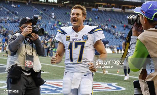 Quarterback Philip Rivers of the Los Angeles Chargers heads off the field following the game against the Seattle Seahawks at CenturyLink Field on...