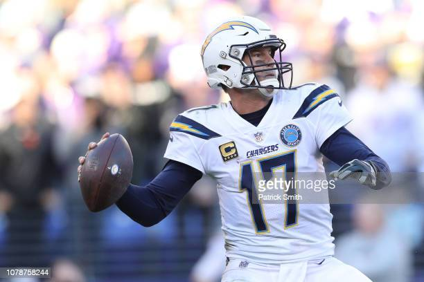 Quarterback Philip Rivers of the Los Angeles Chargers in action against the Baltimore Ravens during the AFC Wild Card Playoff game at MT Bank Stadium...