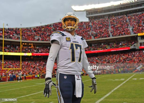 Quarterback Philip Rivers of the Los Angeles Chargers looks up into the stands during the second half against the Kansas City Chiefs at Arrowhead...