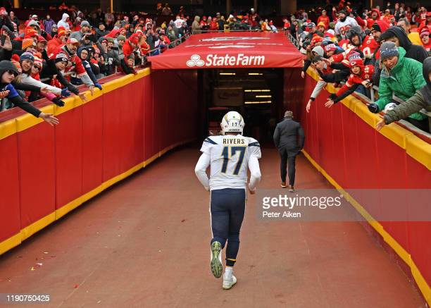 Quarterback Philip Rivers of the Los Angeles Chargers runs up the tunnel after the Chargers loss 3121 to the Kansas City Chiefs at Arrowhead Stadium...