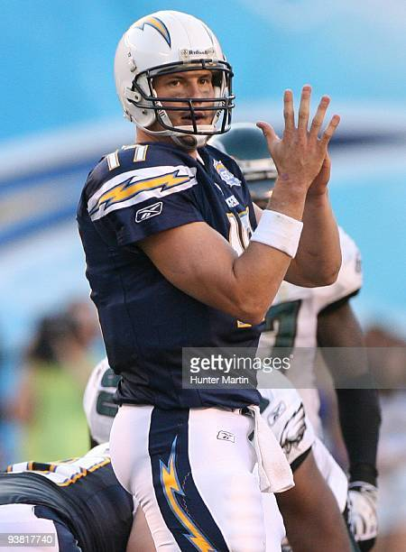 Quarterback Philip Rivers of the San Diego Chargers calls a timeout during a game against the Philadelphia Eagles on November 14 2009 at Qualcomm...