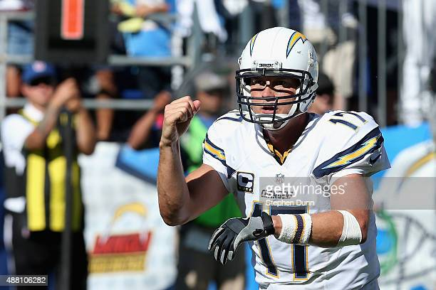 Quarterback Philip Rivers of the San Diego Chargers celebrates after a touchdown against the Detroit Lions at Qualcomm Stadium on September 13 2015...