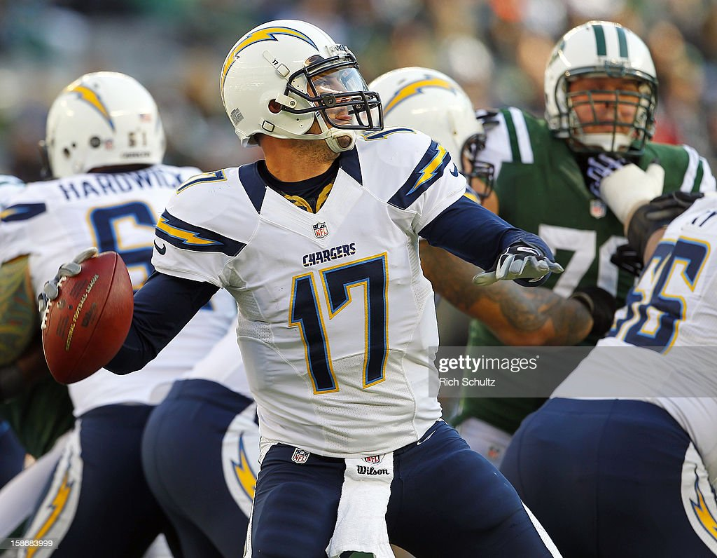 Quarterback Philip Rivers #17 of the San Diego Chargers looks to pass against the New York Jets during the first half at MetLife Stadium on December 23, 2012 in East Rutherford, New Jersey. The Chargers defeated the Jets 27-17.