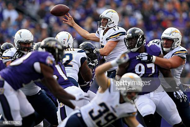 Quarterback Philip Rivers of the San Diego Chargers makes a pass against the Baltimore Ravens during the first half at MT Bank Stadium on November 1...