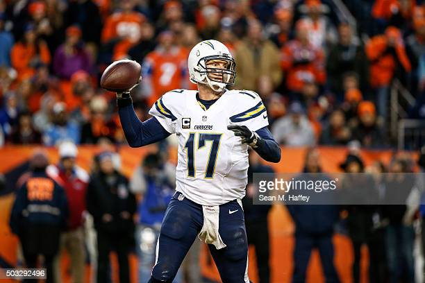 Quarterback Philip Rivers of the San Diego Chargers passes against the Denver Broncos during a game at Sports Authority Field at Mile High on January...